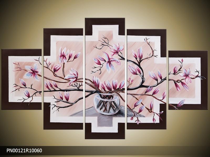 Acryl Schilderij Magnolia | Roze, Crème | 150x70cm 5Luik Handgeschilderd