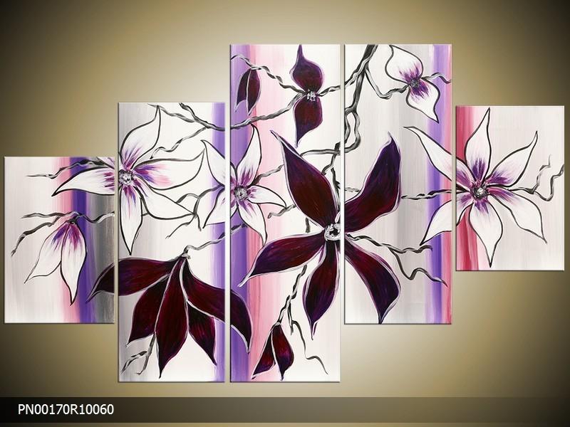 Acryl Schilderij Modern | Paars, Wit, Roze | 150x70cm 5Luik Handgeschilderd