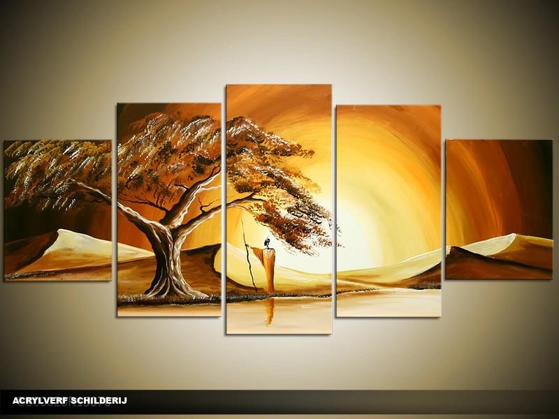 Acryl Schilderij Boom | Bruin, Crème | 150x70cm 5Luik Handgeschilderd