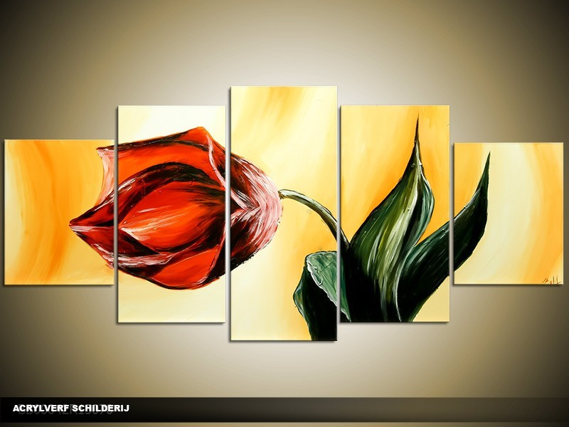 Acryl Schilderij Tulp | Geel, Rood | 150x70cm 5Luik Handgeschilderd
