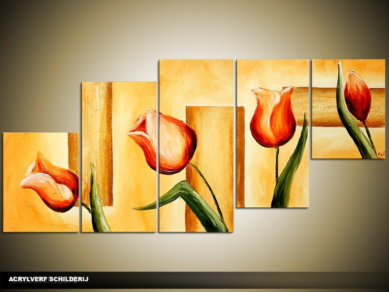 Acryl Schilderij Tulpen | Oranje, Bruin | 150x70cm 5Luik Handgeschilderd