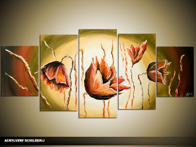 Acryl Schilderij Klaproos | Groen, Bruin, Crème | 150x70cm 5Luik Handgeschilderd