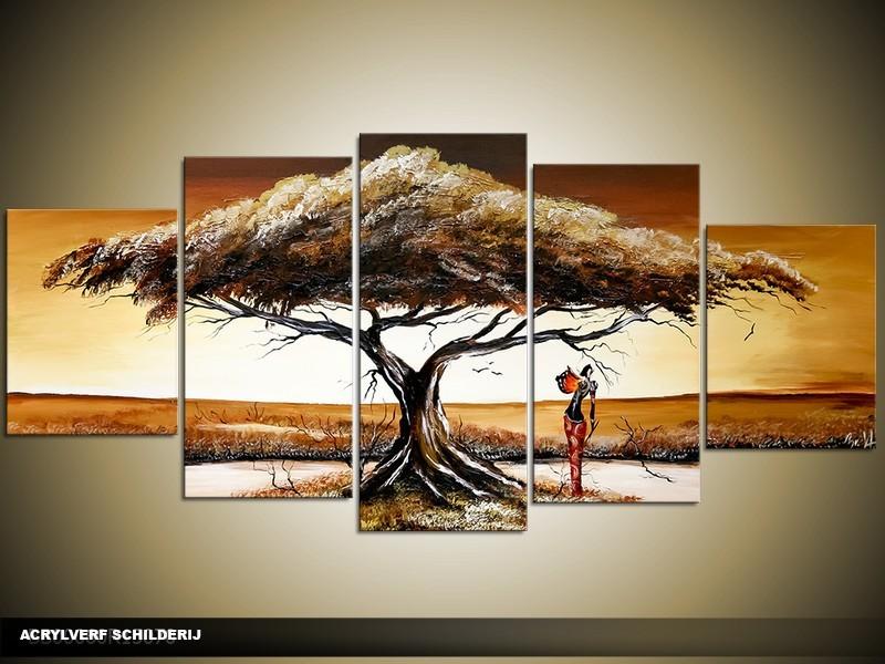 Acryl Schilderij Afrika | Bruin, Crème | 150x70cm 5Luik Handgeschilderd