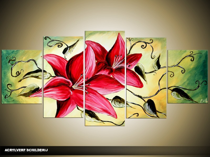 Acryl Schilderij Magnolia | Roze, Geel, Groen | 150x70cm 5Luik Handgeschilderd