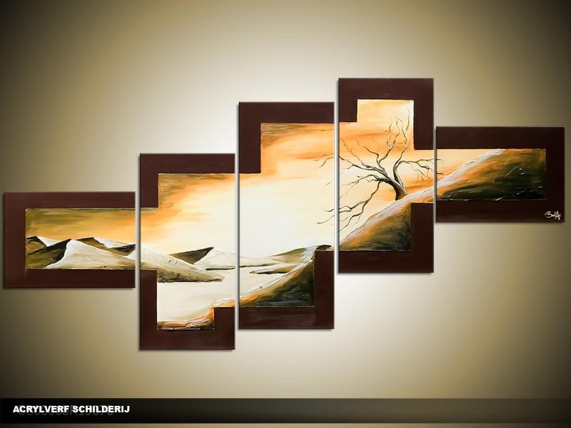 Acryl Schilderij Klaproos | Bruin, Groen, Crème | 170x70cm 5Luik Handgeschilderd