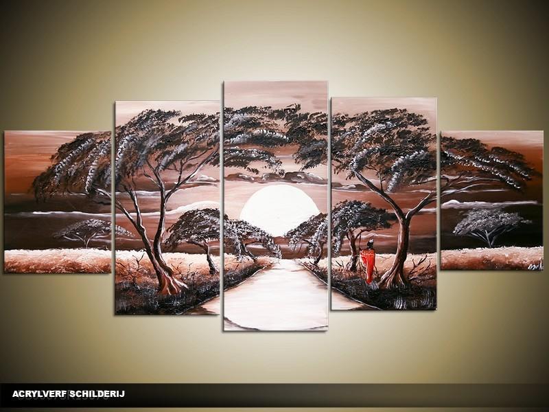 Acryl Schilderij Zonsondergang | Bruin, Crème | 150x70cm 5Luik Handgeschilderd