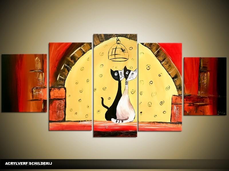 Acryl Schilderij Modern | Geel, Rood | 150x70cm 5Luik Handgeschilderd