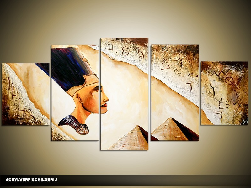Acryl Schilderij Egypte | Geel, Bruin, Crème | 150x70cm 5Luik Handgeschilderd