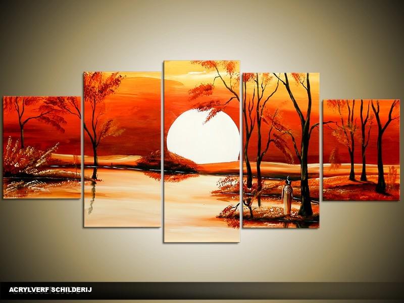 Acryl Schilderij Zonsondergang | Rood, Geel, Oranje | 150x70cm 5Luik Handgeschilderd