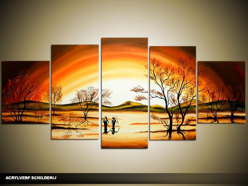 Acryl Schilderij Zonsondergang | Bruin, Oranje, Geel | 150x70cm 5Luik Handgeschilderd