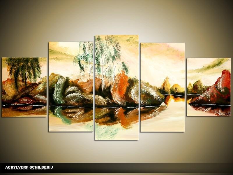 Acryl Schilderij Natuur | Crème, Groen | 150x70cm 5Luik Handgeschilderd