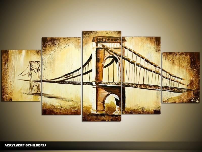 Acryl Schilderij Brug | Bruin, Crème | 150x70cm 5Luik Handgeschilderd
