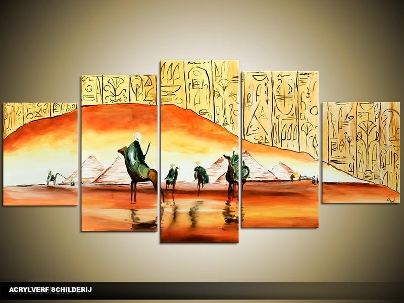 Acryl Schilderij Egypte | Oranje, Geel | 150x70cm 5Luik Handgeschilderd