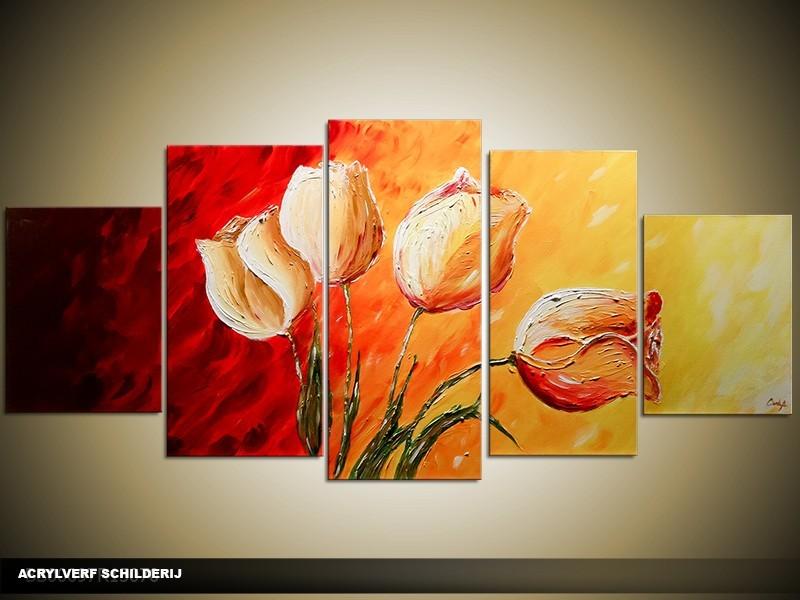 Acryl Schilderij Tulpen | Rood, Geel, Oranje | 150x70cm 5Luik Handgeschilderd