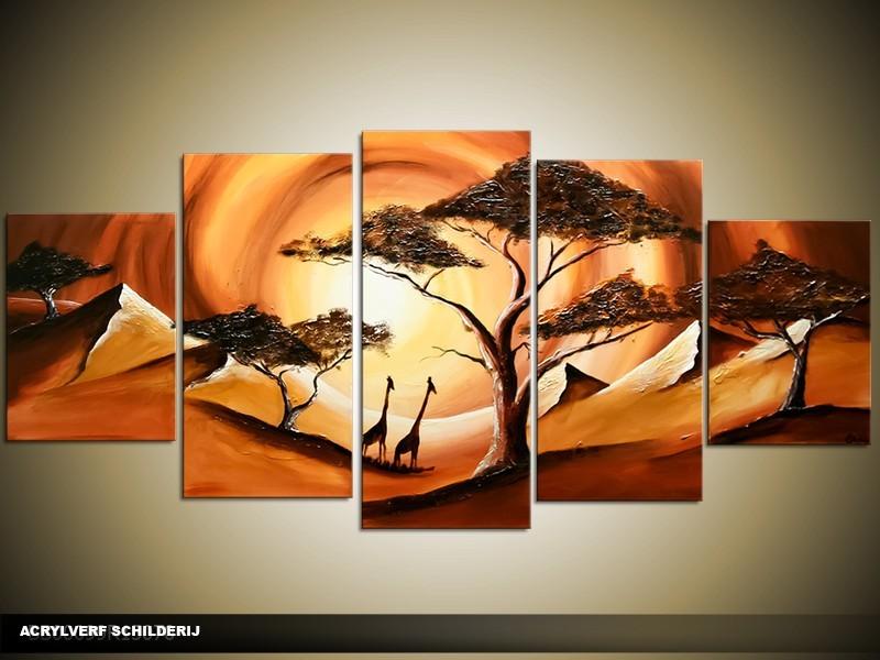 Acryl Schilderij Zonsondergang | Bruin, Oranje | 150x70cm 5Luik Handgeschilderd