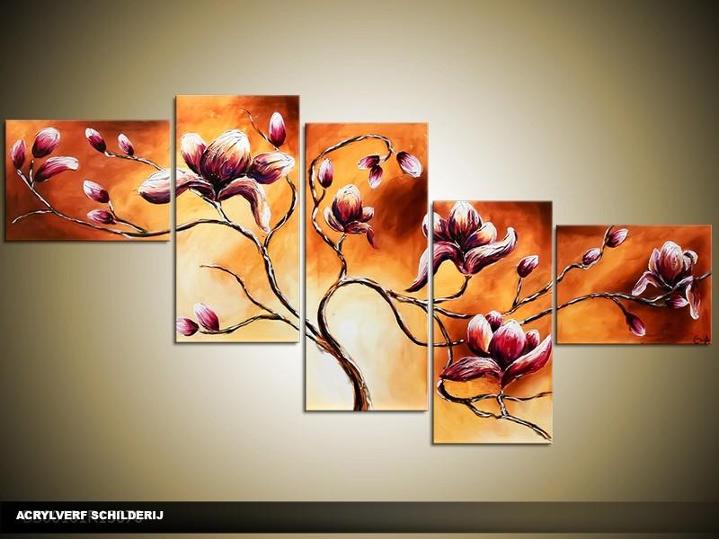Acryl Schilderij Magnolia | Bruin, Oranje | 170x70cm 5Luik Handgeschilderd