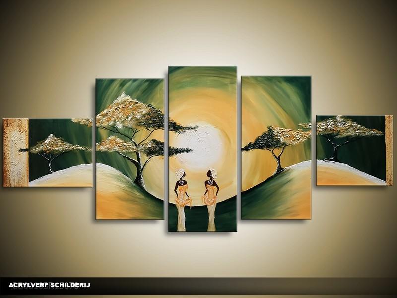Acryl Schilderij Zonsondergang | Groen, Geel | 150x70cm 5Luik Handgeschilderd
