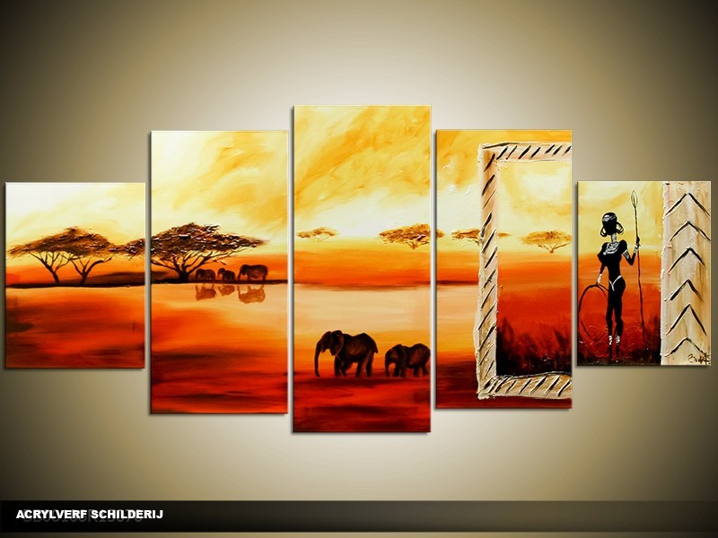 Acryl Schilderij Afrika | Rood, Oranje, Geel | 150x70cm 5Luik Handgeschilderd