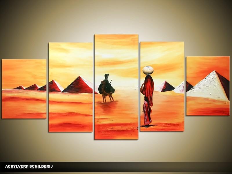 Acryl Schilderij Egypte | Rood, Geel, Oranje | 150x70cm 5Luik Handgeschilderd