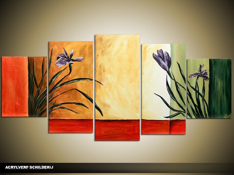 Acryl Schilderij Woonkamer | Rood, Crème, Groen | 150x70cm 5Luik Handgeschilderd