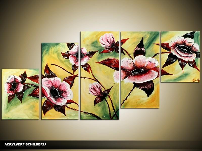 Acryl Schilderij Klassiek | Geel, Groen | 150x70cm 5Luik Handgeschilderd