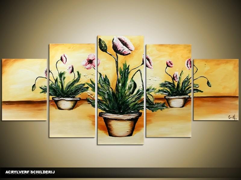 Acryl Schilderij Klassiek | Geel, Groen, Bruin | 150x70cm 5Luik Handgeschilderd