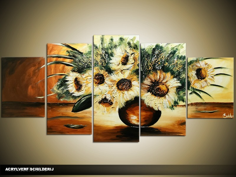 Acryl Schilderij Klassiek | Geel, Bruin | 150x70cm 5Luik Handgeschilderd