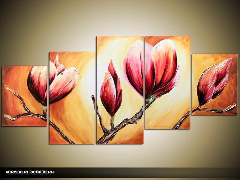 Acryl Schilderij Magnolia | Oranje, Bruin | 150x70cm 5Luik Handgeschilderd