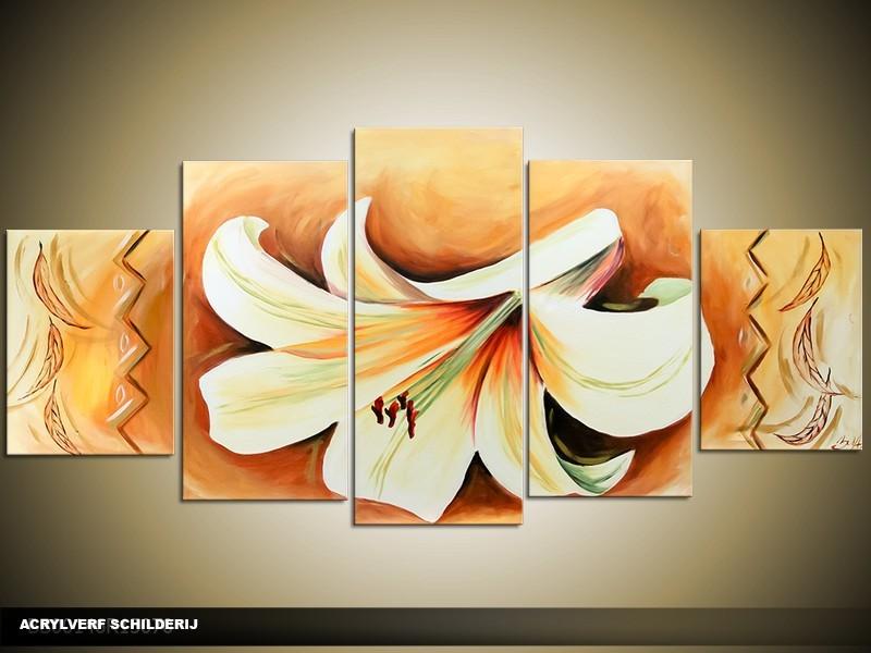 Acryl Schilderij Lilia | Bruin, Crème | 150x70cm 5Luik Handgeschilderd