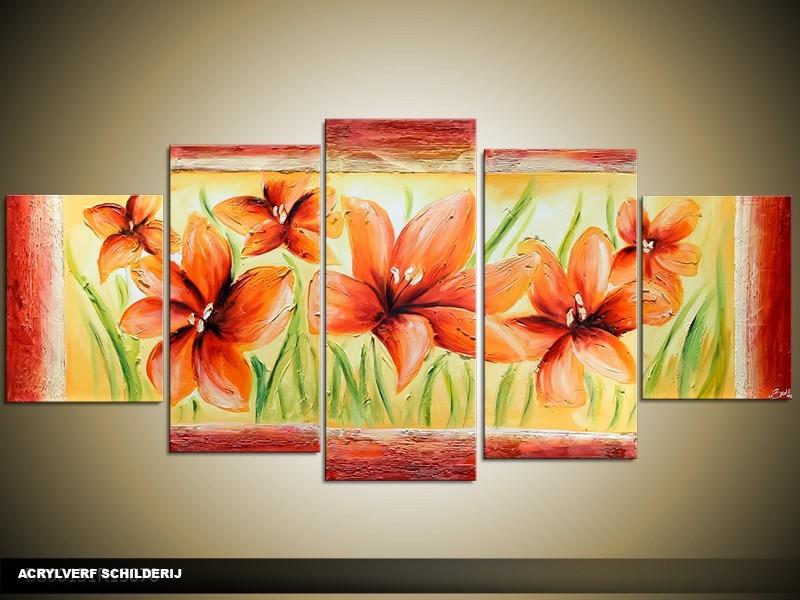 Acryl Schilderij Klaproos | Rood, Geel, Groen | 150x70cm 5Luik Handgeschilderd
