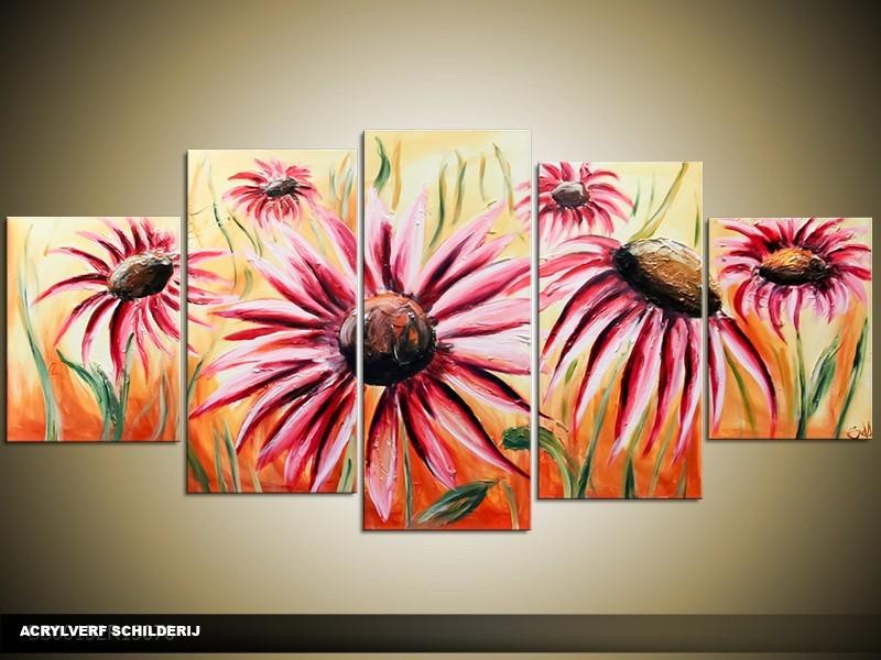 Acryl Schilderij Modern | Bruin | 150x70cm 5Luik Handgeschilderd