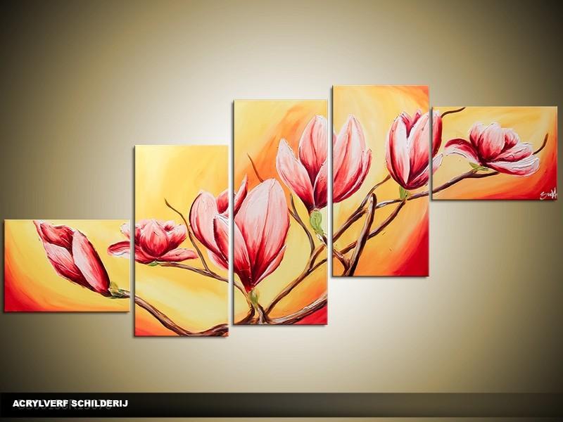 Acryl Schilderij Magnolia | Oranje, Roze | 170x70cm 5Luik Handgeschilderd