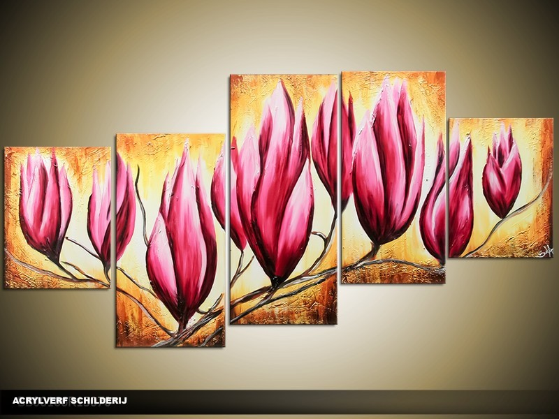 Acryl Schilderij Magnolia | Roze, Bruin, Crème | 150x70cm 5Luik Handgeschilderd