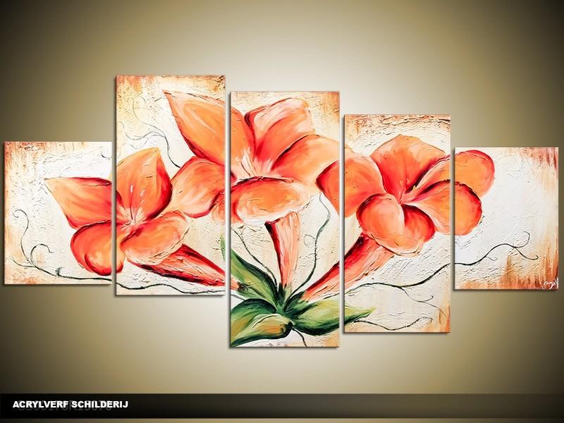 Acryl Schilderij Modern | Oranje, Crème | 150x70cm 5Luik Handgeschilderd
