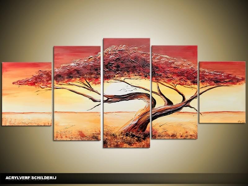 Acryl Schilderij Zonsondergang | Bruin, Crème, Geel | 150x70cm 5Luik Handgeschilderd