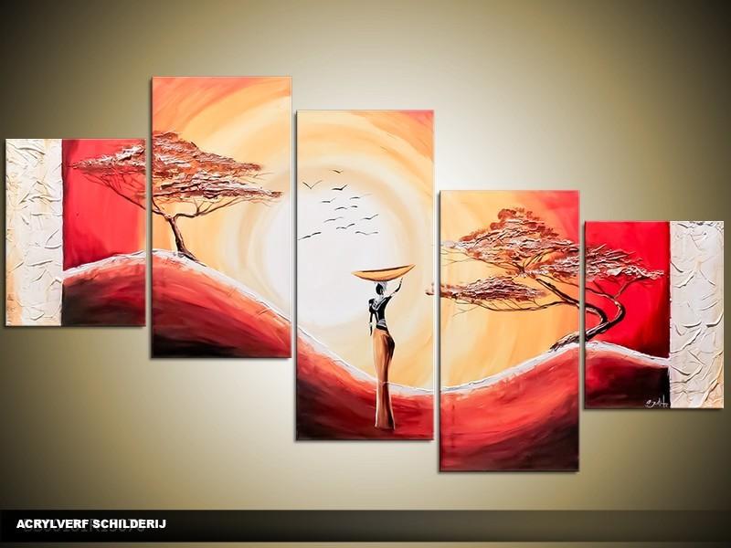Acryl Schilderij Zonsondergang | Rood, Geel | 150x70cm 5Luik Handgeschilderd