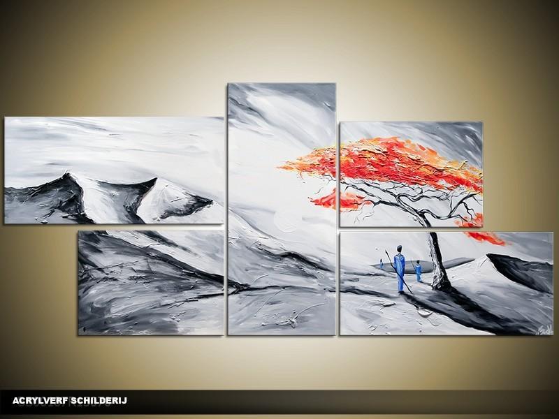 Acryl Schilderij Modern | Grijs, Rood, Zwart | 150x70cm 5Luik Handgeschilderd