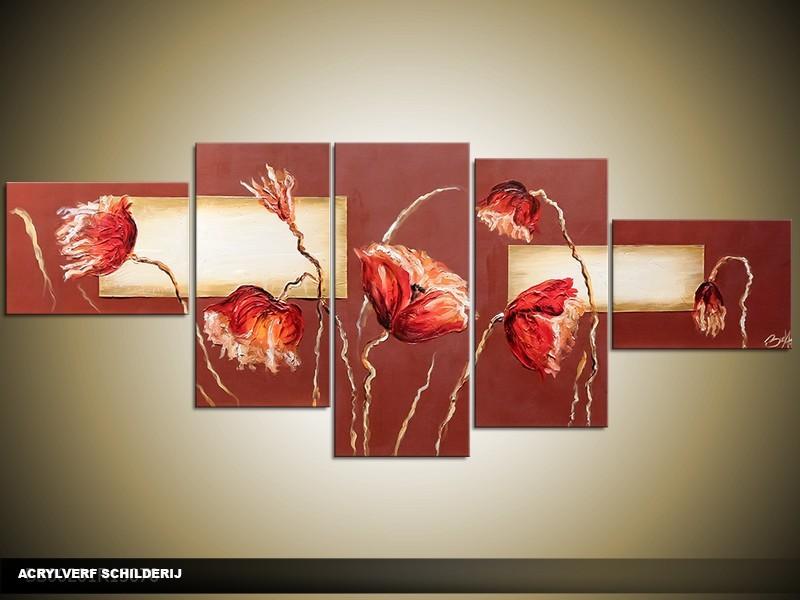 Acryl Schilderij Klaproos | Bruin, Rood, Crème | 170x70cm 5Luik Handgeschilderd