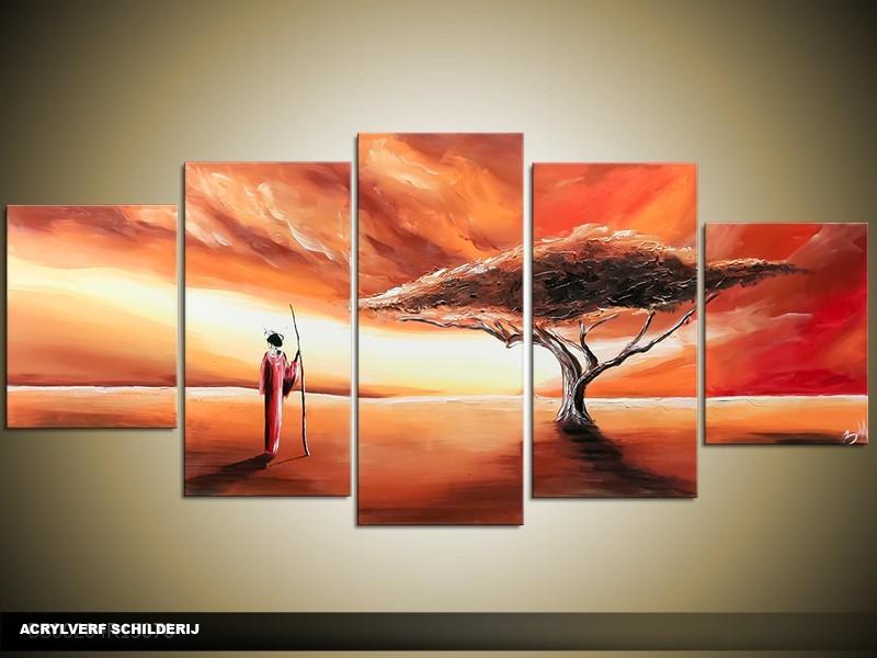Acryl Schilderij Afrika | Bruin, Crème, Rood | 150x70cm 5Luik Handgeschilderd