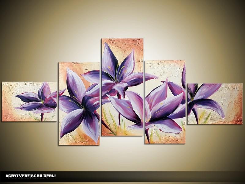 Acryl Schilderij Woonkamer | Paars, Crème | 170x70cm 5Luik Handgeschilderd