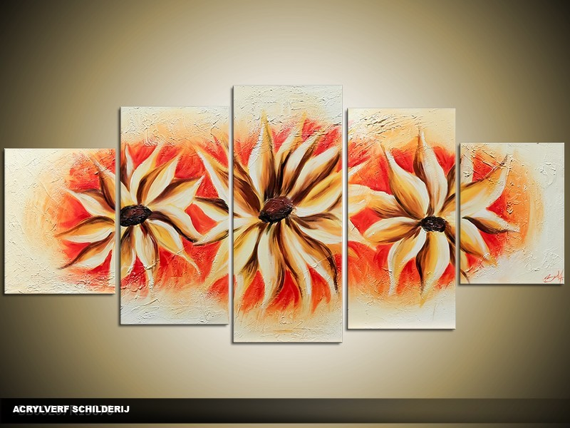 Acryl Schilderij Woonkamer | Oranje, Crème | 150x70cm 5Luik Handgeschilderd