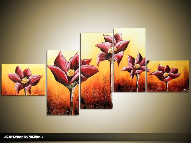 Acryl Schilderij Modern | Oranje, Geel | 170x70cm 5Luik Handgeschilderd