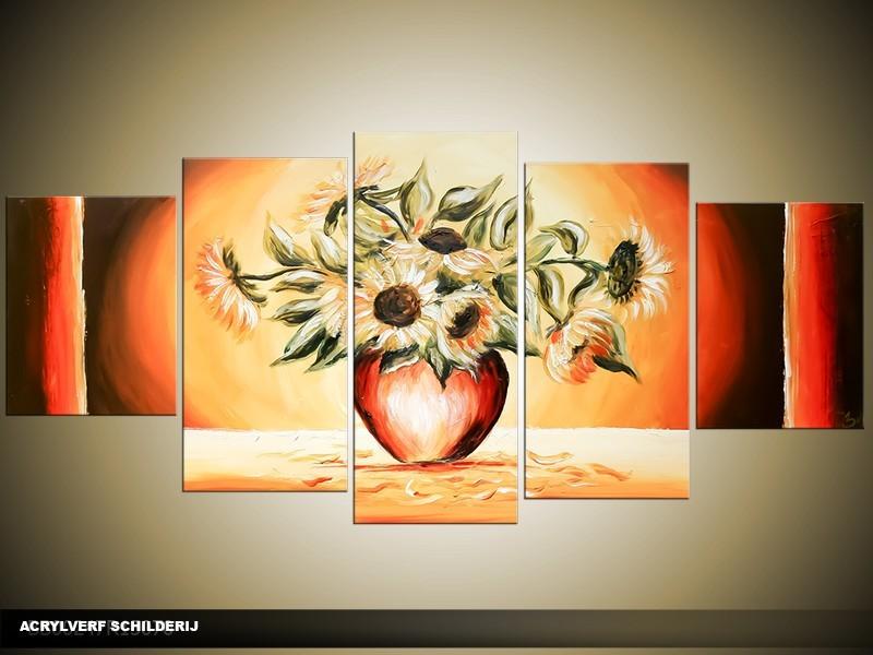 Acryl Schilderij Zonebloem | Oranje, Rood, Geel | 150x70cm 5Luik Handgeschilderd