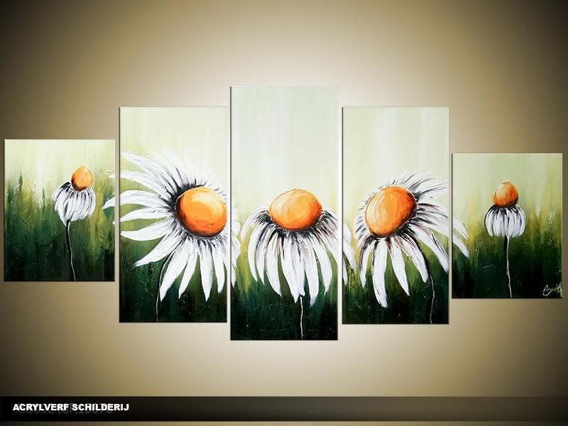 Acryl Schilderij Daisy | Wit, Groen | 150x70cm 5Luik Handgeschilderd