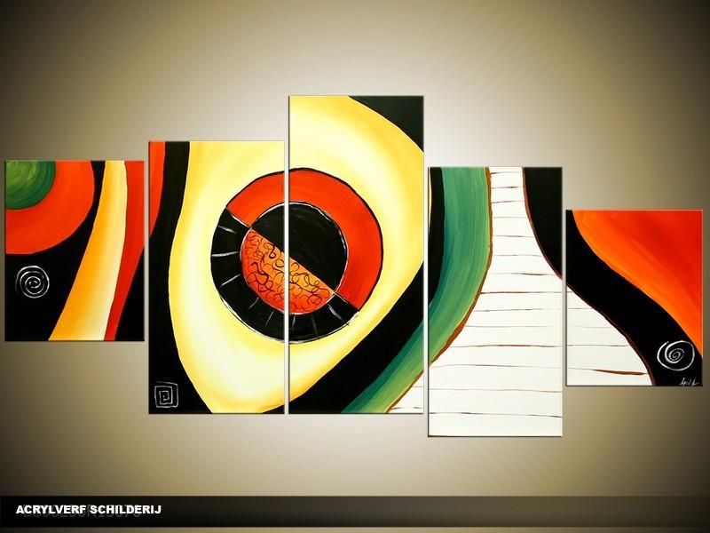 Acryl Schilderij Natuur | Zwart, Oranje, Geel | 150x70cm 5Luik Handgeschilderd