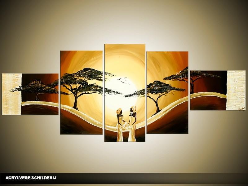 Acryl Schilderij Zonsondergang | Bruin, Geel | 170x70cm 5Luik Handgeschilderd