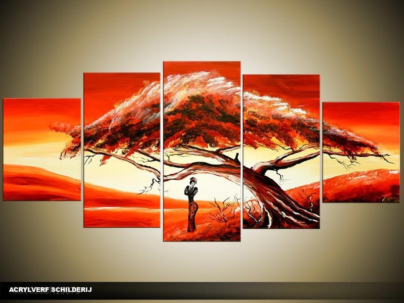 Acryl Schilderij Natuur | Rood, Geel | 150x70cm 5Luik Handgeschilderd
