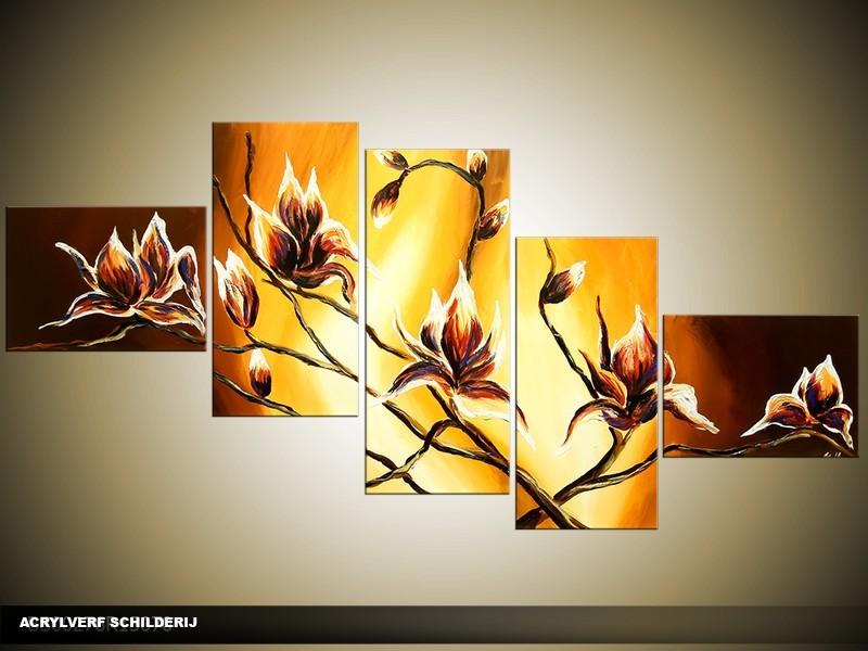Acryl Schilderij Magnolia | Geel, Bruin | 170x70cm 5Luik Handgeschilderd