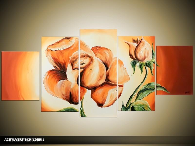 Acryl Schilderij Roos | Oranje, Geel | 150x70cm 5Luik Handgeschilderd