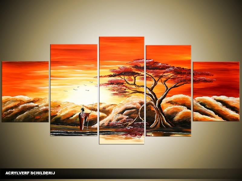Acryl Schilderij Zonsondergang | Oranje, Geel | 150x70cm 5Luik Handgeschilderd